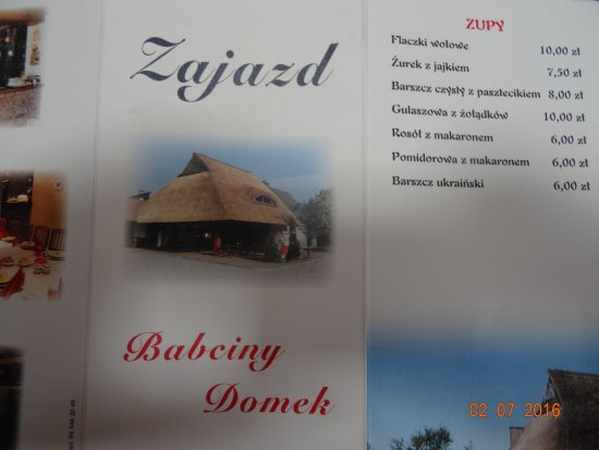 Bialy Bor, Poland: Menu