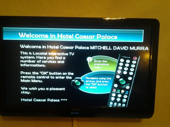 Hotel Caesar Prague: Greating on the TV on arrival