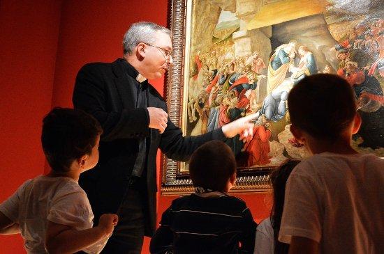 Don Alessio racconta ai bambini L'Adorazione dei Magi di Botticelli