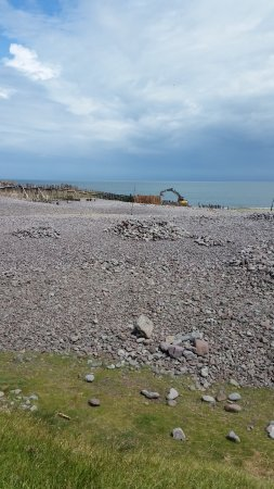 Porlock Weir, UK: Pebbly beach with seating & tables on the grass area