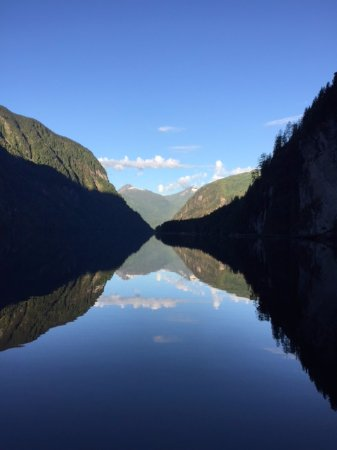 Looking down the entrance to Princess Louisa Inlet
