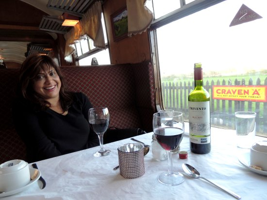 Aviemore, UK: The excellent dinner went well with the Argentinian Malbec - pic of a happy wife!!