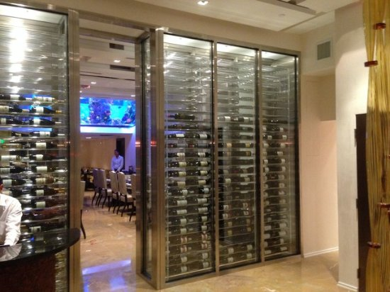 Chanson Restaurant Chansonu0027s extensive wine collection stored in a temperature-controlled custom glass & Chansonu0027s extensive wine collection stored in a temperature ...