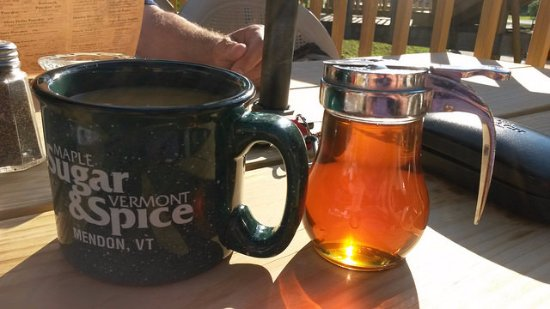 Mendon, VT: Generous cup of coffee, and golden maple syrup