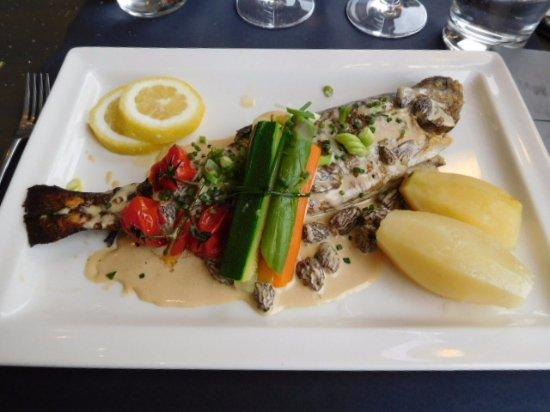 St-Hippolyte, France: Forelle mit Gemüsebouquet an einer Wein-Morchelsauce.