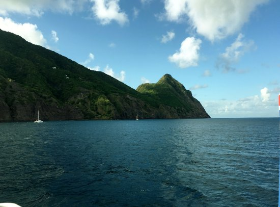 Looking at Saba from boat over Tent Reef