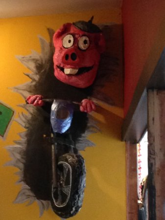 Buck's Naked BBQ Steakhouse: A decoration on the wall