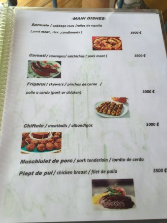 Tilaran, Kosta Rika: A page from menu