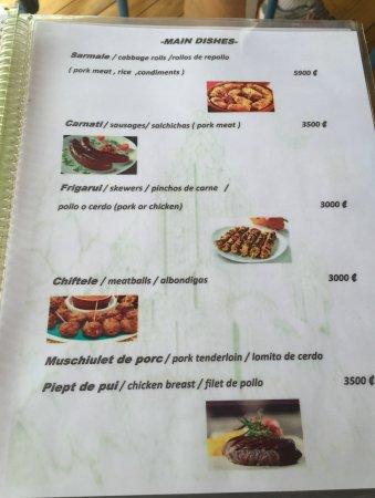 Tilarán, Costa Rica: A page from menu