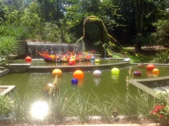Atlanta Botanical Garden: Moss Lady Overlooking Waterfall With Crystal  Balls Floating In Water