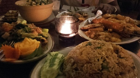 Royal Orchid: Thai fried rice, Talay kai, stir fried mixed vegetables and green curry