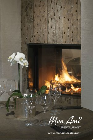 Fireplace is the heart of this restaurant - Picture of Mon Ami ...