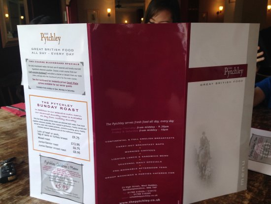 West Haddon, UK: Menu at the Pytchley