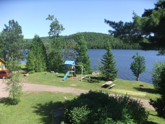 Silver Bay, MN: This is a view of the playground area from our deck