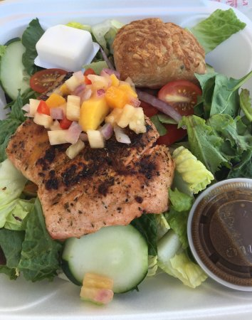 Normandie: Chicken curry salad with fruit and Salmon salad.