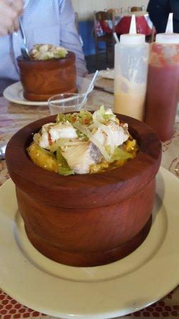 Morovis, Porto Rico: Mofongo filled with dorado (Mahi-Mahi) and garlic