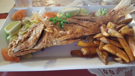Morovis, Puerto Rico: Fried Red Snapper with natural fries.