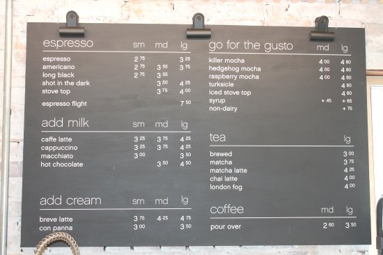 Coffee Menu  Picture Of Milano Espresso Bar Toronto  Tripadvisor