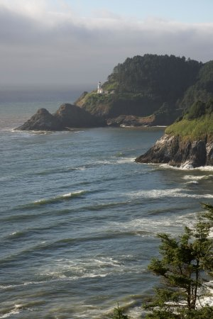 Florence, OR: Heceta Head Lighthouse, viewed from shoreline