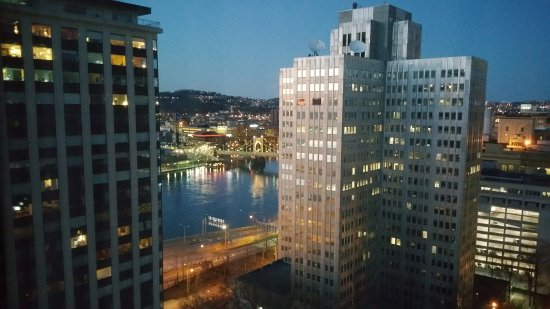 view of river from my room at night at wyndham grand. Black Bedroom Furniture Sets. Home Design Ideas