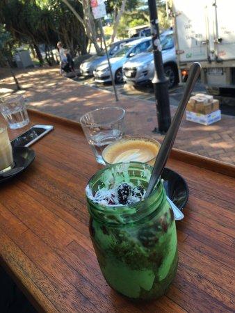 Sunshine Beach, Australia: Coconut Quinoa Porridge (Chilled) with Coffee on the front deck at Duke's Deli