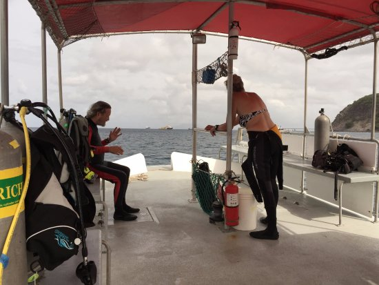San Eustaquio: The boat was never overcrowded. On this particular dive, we had it to ourselves!