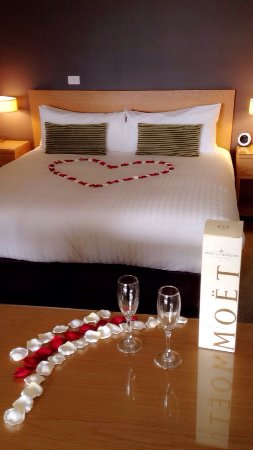 The Chateau Elan made our room extra special for our arrival. (Rose petals only not the Moet).