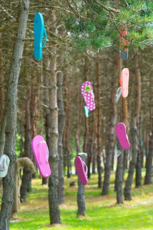 Orrtanna, PA: They have a row of trees with flip flops hanging from them lol