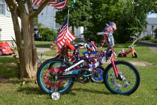 Ewell, MD: Decorated bikes for the 4th of July Parade at Tylerton