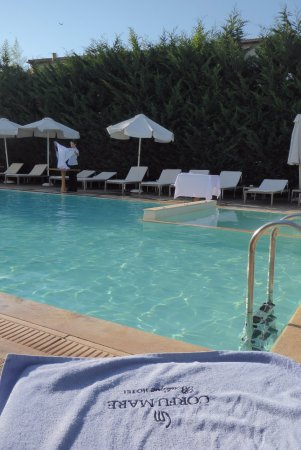 Corfu Mare Boutique Hotel: The pool area, early evening