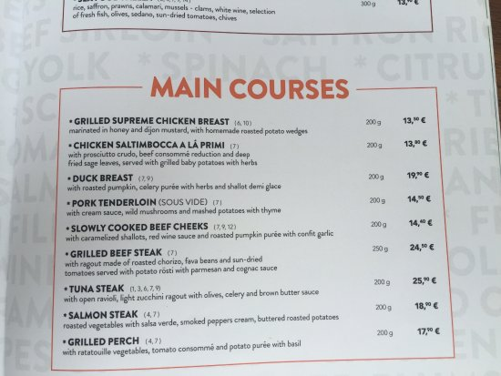 Italian Food Menu Main Course