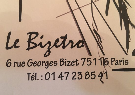 Le Bizetro La Carte De Visite Sur Nappe