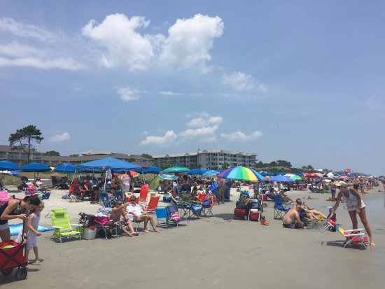Coligny Beach Crowded On A Saay In June