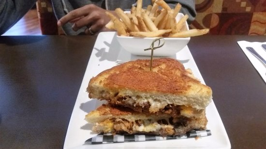 Ricky's Country Restaurant: Grilled Cheese with Pulled pork and Fries. (full menu)