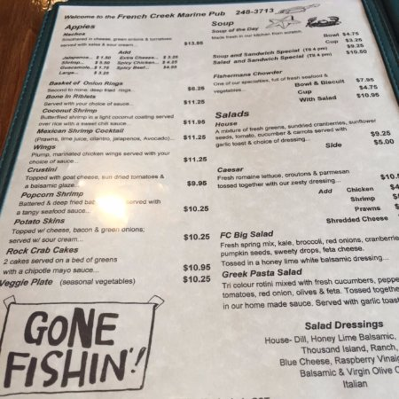 Menu Options French Creek Marine Pub Parksville Bc  Picture Of