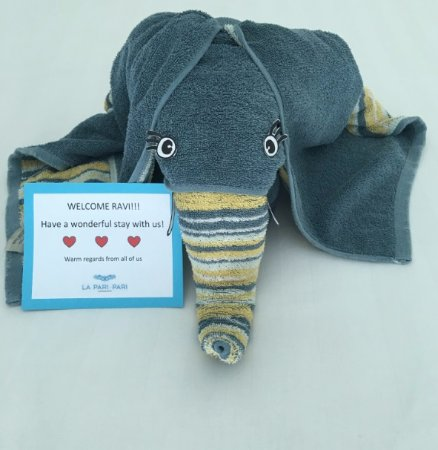 La Pari-Pari Langkawi : Our personalised welcome greeting, cradled by the elephant.