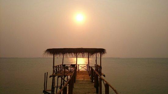 Inhassoro, Mozambique: Sunset over lagoon.