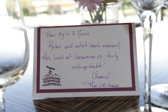 Uncorking Argentina Private Tours: Little note from Uncorking at our table