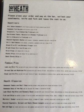 Royston, UK: Heath Cafe Menu page 1