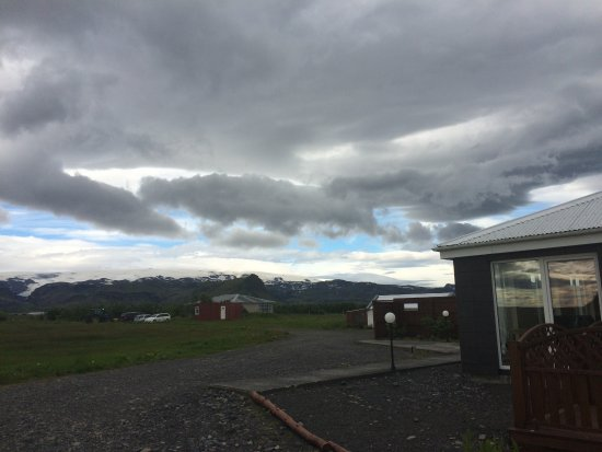 Guesthouse Vellir: View from the parking lot, looking north. Nothing fancy but a great location!