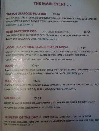 Talbots Seafood Bar: menu