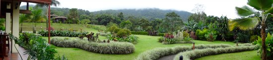 Hotel Lomas del Volcan: Beautiful landscaping - with a view of Mount Arenal which was covered with clouds while we visit