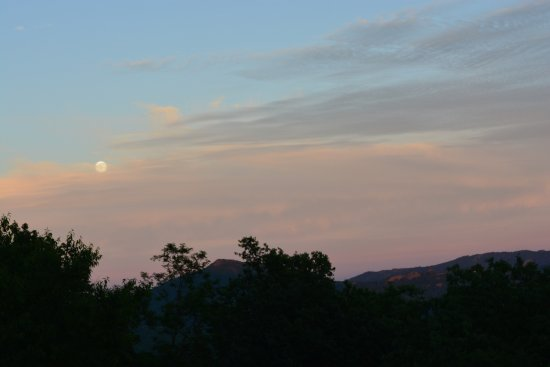 Jackalope's View: The moon rising over Grandfather Mountain from the balcony of the restaurant.