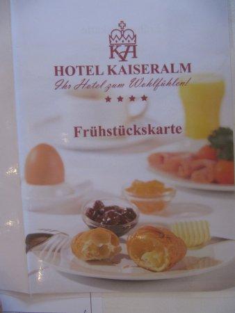 Hotel Kaiseralm: Die Frühstückskarte