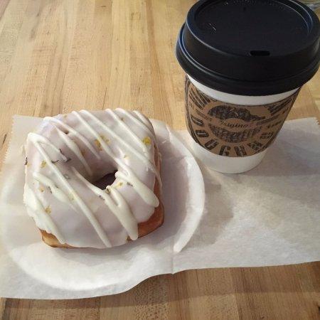 Clayton, MO: Lemon lavender doughnut and a small coffee