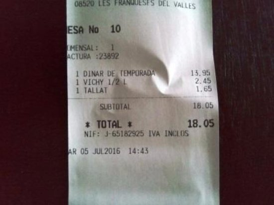 Les Franqueses del Valles, Spain: Factura menú 13,95€