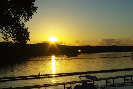Maple Lane Resort: Sunset over Sleeping Bear Dunes from the Maple Lane dock