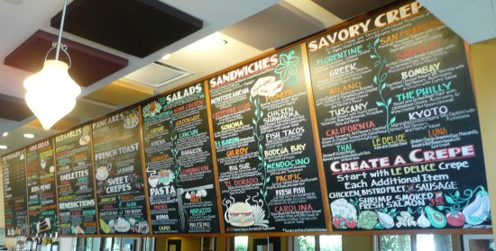 Crepevine: Lots of tasty choices posted on their menu wall!