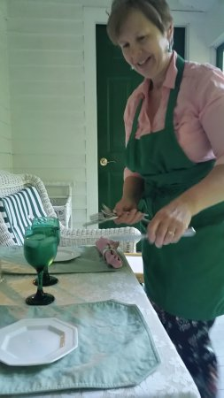 Waupaca, WI: Anniversary breakfast being served on private screened in porch