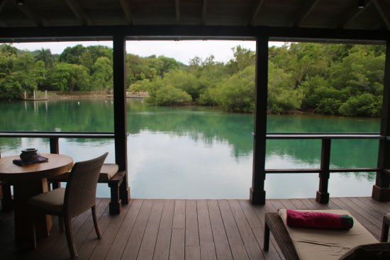 Goldeneye Resort: View of the lagoon from our porch at Lagoon Villa #9.